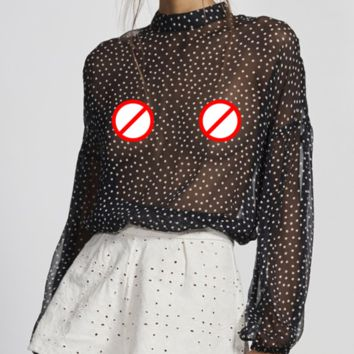 Hot style sells sexy see-through wave point long-sleeved tops