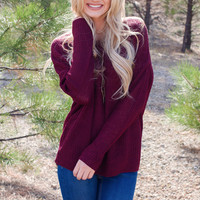 Isabelle Oversized Sweater - Burgundy