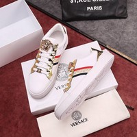 Versace White Fashion Casual Low Help Flat Running Sports Shoes Sneakers