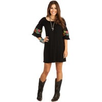 Women's Black Embroidered Origami Tunic