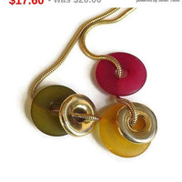 SALE Modernist Lucite & Gold Tone, Green and Red Discs Round Snake Chain Necklace Vintage