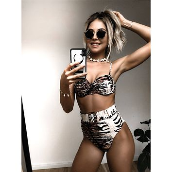 Tiger Striped Random Pattern Top With High Waist Bikini