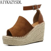 AIYKAZYSDL Summer Women Peep Toe Faux Suede Ankle Strap Sandals Woman Hemp Straw Rope Platform Wege High Heel Fisherman Shoes