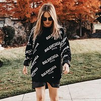 balenciaga Women Fashion Letter Pullover Sweater
