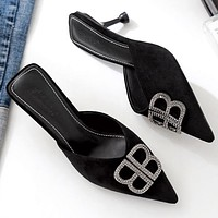 Balenciaga summer new sandals and slippers stiletto pointed shoes Baotou sandals Shoes Black