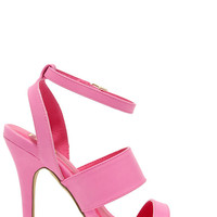 Patio Garden Hot Pink High Heel Sandals
