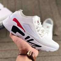 FILA couple mesh breathable knit inner thickening platform sports retro running shoes white