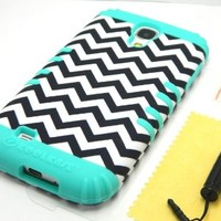 Samsung Galaxy S4 Chevron Stripes Impact Hybrid Combo Hard Case Cover Soft Skin (Classic Chevron)