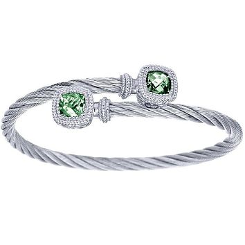 Gabriel Green Amethyst Steel and Sterling Silver Cable Bangle