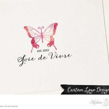 premade logo design watercolor logo butterfly logo watercolor butterfly logo website logo blog logo boutique logo fashion logo jewelry logo