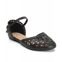 New Women's Fashion Leatherette Ankle Strap Flat Sandals BLACK