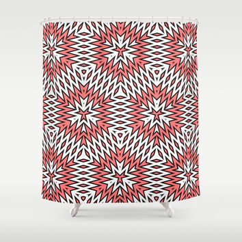 Abstract Geometric Pattern Shower Curtain by Cinema4design