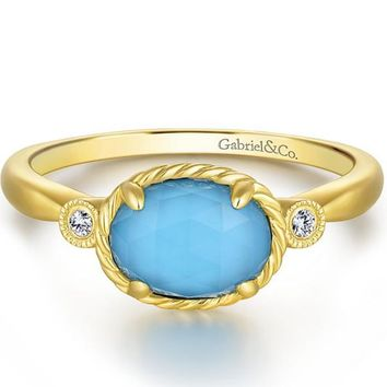 Gabriel Turquoise and Rock Crystal Diamond Ring