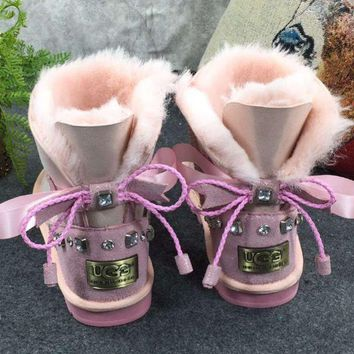 UGG Fashion Women Wool Snow Flats Leather Boots Shoes