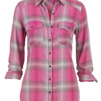 plaid button down shirt in gray and hot pink