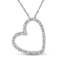 A Vintage Russian Lab Diamond Pave Heart Solitaire Pendant Necklace