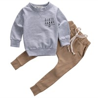 2pcs Newborn Infant Baby Kids Autumn winter Outfits Babies Boys Girls Kids Anchor T-shirt Tops+Pants Outfit Sets Clothing