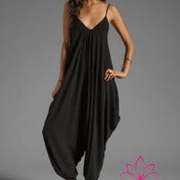 Stunning Sleek Black BOHO Harem Pants Jumpsuit Plus Size Up to 4X