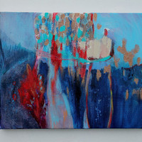 """Abstract Landscape Art Modern Painting """"Fire and Rain"""""""