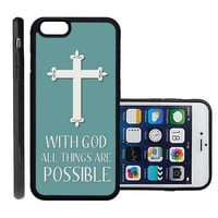 RCGrafix Brand Christian Cross Quote Apple Iphone 6 Plus Protective Cell Phone Case Cover - Fits Apple Iphone 6 Plus