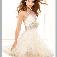 Sequined Halter Top Short Prom Dress By Terani p3018