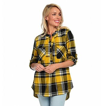 OSO Casuals] Knit Plaid Roll Tab Sleeve Button-up Y-Neck Hi-Lo Tunic Shirt