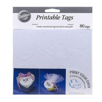 Printable White Circle Favor Tags - 80ct.