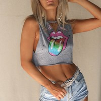 VINTAGE Rolling Stones Distressed Crop T-shirt