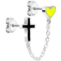 Sterling Silver Black Cross Yellow Heart Ear to Cartilage Stud Earring | Body Candy Body Jewelry