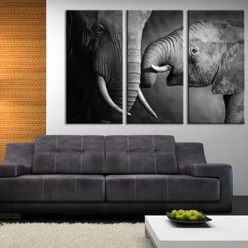 Large Wall Canvas ART Baby and Mother Big Elephant Photo on Canvas Print + Ready to Hang + Great Gift