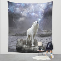 Stars Lie Hidden In Your Soul (Wolf Galaxy) Wall Tapestry by Soaring Anchor Designs