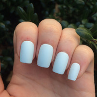 Fake nails, matte nails, icy blue nails, nail set