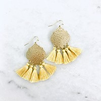 Bright Day Mustard Tassel Earrings