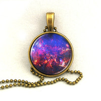 10% SALE Necklace Trifid Nebula, Galaxy Jewelry, Universe, Space, Pendant Necklaces,Constellation,Gift For Her
