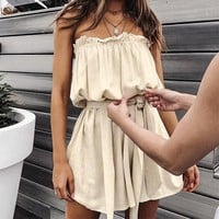 Solid Elegant Short Ruffles Women Dress Solid Bow Tie Cotton Dresses Party Casual Beach Sexy Dress