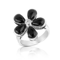 Del Gatto Designer Rings Diamond and Onyx Flower 18K Gold Ring