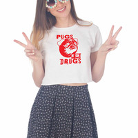 Pugs Not Drugs Red For Womens Crop Shirt **