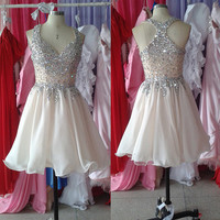 Stunning Rhinestones A-line Sexy Chiffon Tulle Short Homecoming Dress Prom Dress