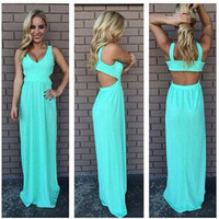 Chiffon Backless King Size Sexy Vest Maxi Dress Prom Dress [4919211140]