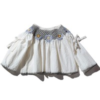 Daisy Hand Smocked Collar Top White Gingham
