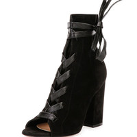 Gianvito Rossi Lace-Front Peep-Toe Suede Ankle Boot, Black