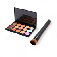 New 15-Color Face Cream Concealer Palette Cosmetic Set with Foundation Brush