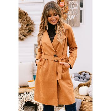 So Street Chic Faux Suede Trench Coat (Camel)
