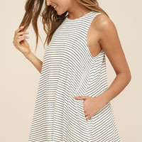RVCA Sucker Punch Ivory Striped Swing Dress