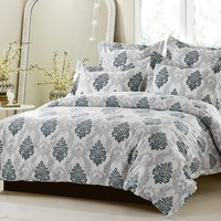 5PC BLACK GREY DESIGN DUVET COVER SET STYLE # 1021 - CHERRY HILL COLLECTION
