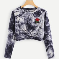 Rose Embroidered Patch Water Color Twist Tee