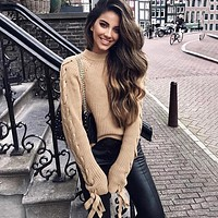 Lace up knitted sweater women jumper O neck casual sweater Short pullover sweaters ladies pull femme