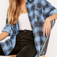 Urban Renewal Vintage Customised Overdyed Light Blue Plaid Flannel Shirt - Urban Outfitters