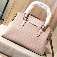 MK Fashion New More Letter Print Leather Shoulder Bag Crossbody Bag Handbag Pink
