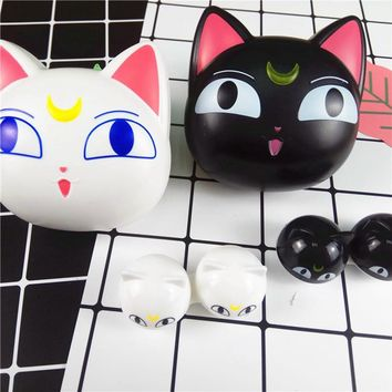 Contact Lenses Case New Design Cute Cartoon Moon Cat with Mirror Contact Lens Case for Man   and Women Portable Holder L8016